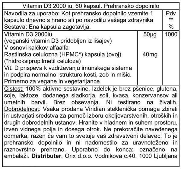 Viridian D3 vitamin v kapsulah