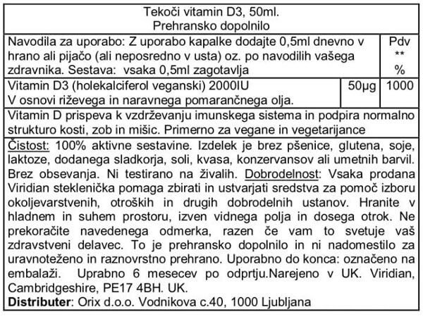 Viridian tekoči D3 vitamin