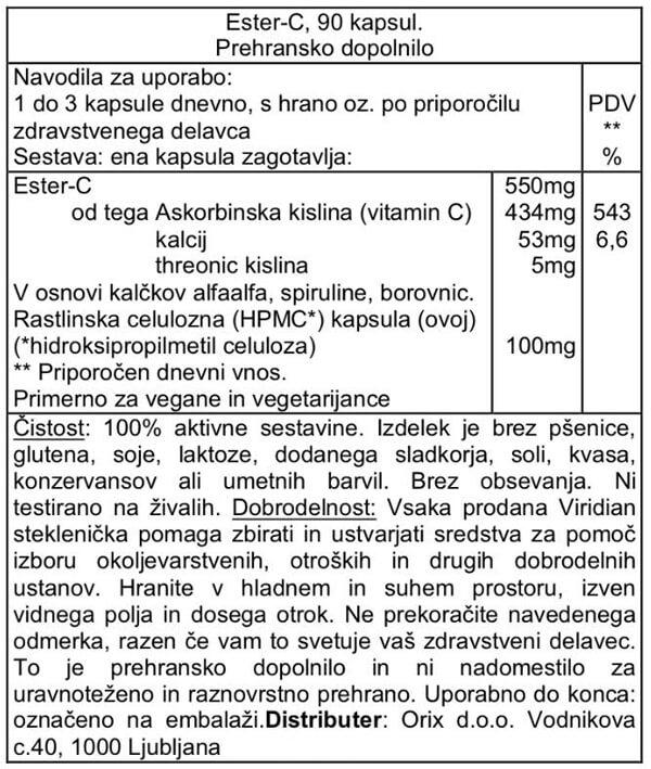 Viridian Ester-C vitamin 550mg