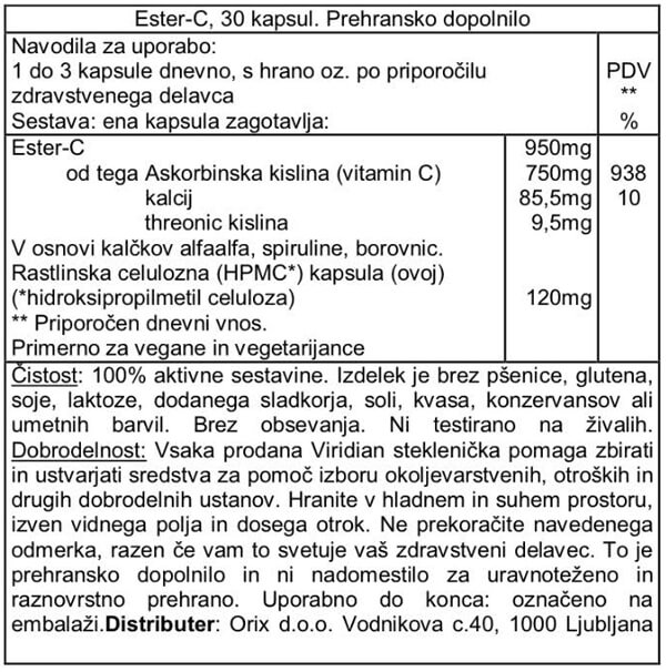 Viridian Ester-C vitamin 950mg