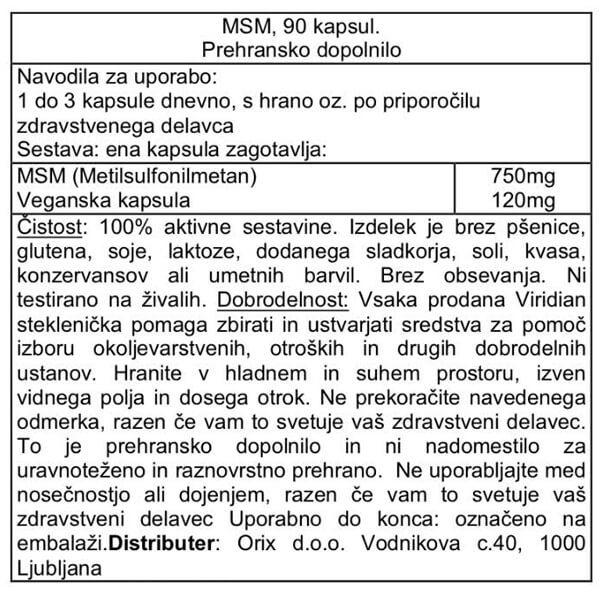 Viridian MSM v kapsulah