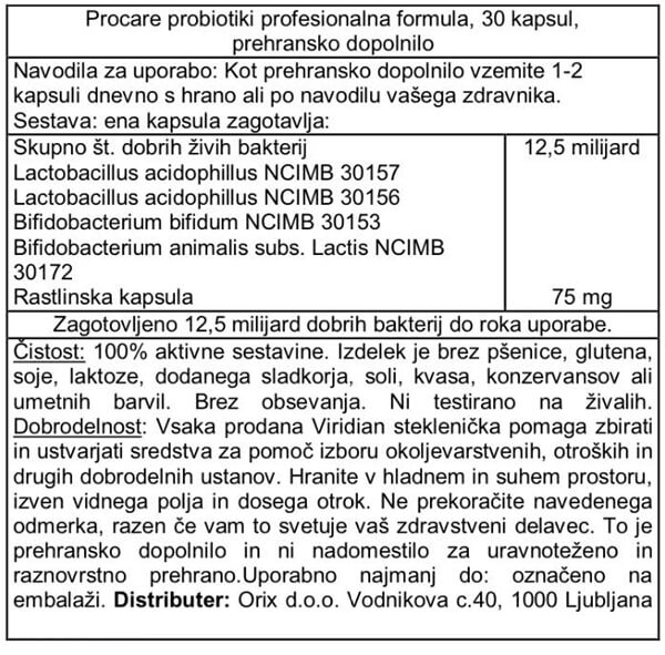 Viridian probiotiki ProCare