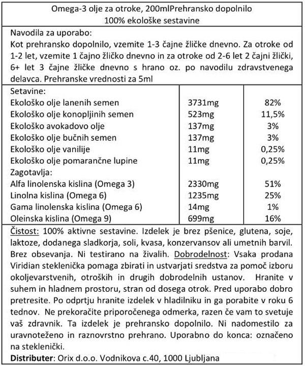 Viridian ekološko omega-3 olje za otroke