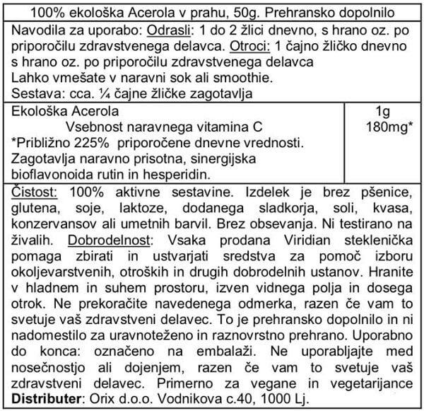 Viridian ekološka acerola