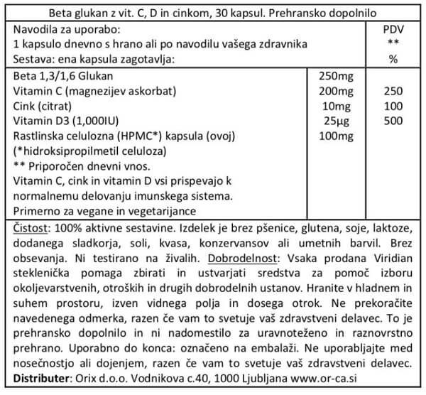 Viridian beta glukani