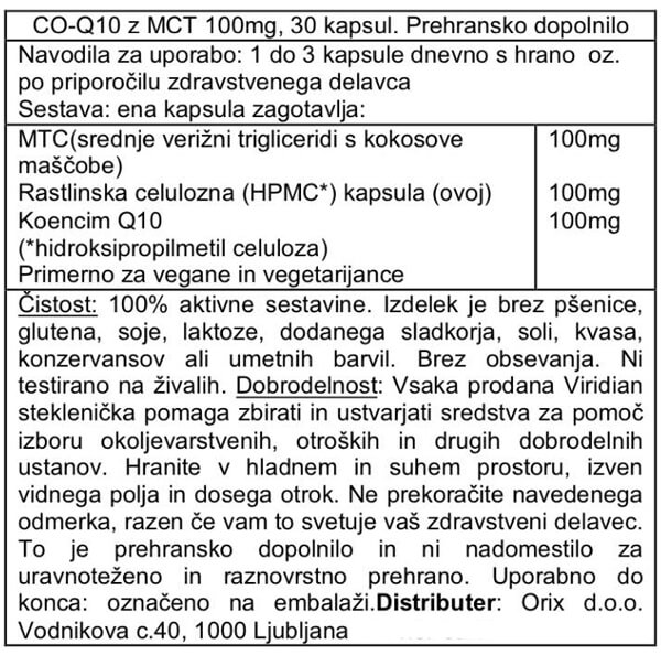 Viridian koencim Q10 z MCT 100mg