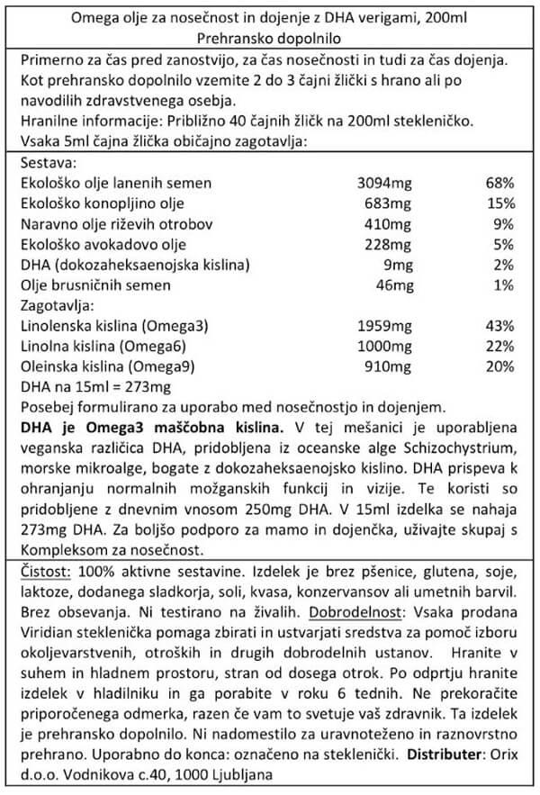 Viridian omega olje za nosečnost in dojenje