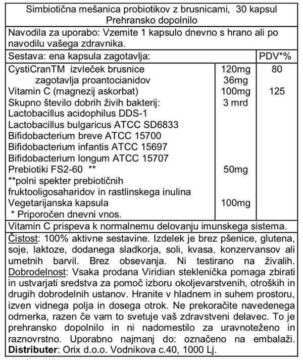 Viridian probiotiki z brusnico